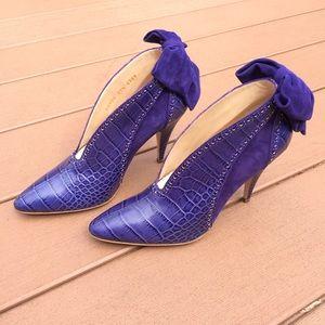 Escada Purple Croc leather shoes